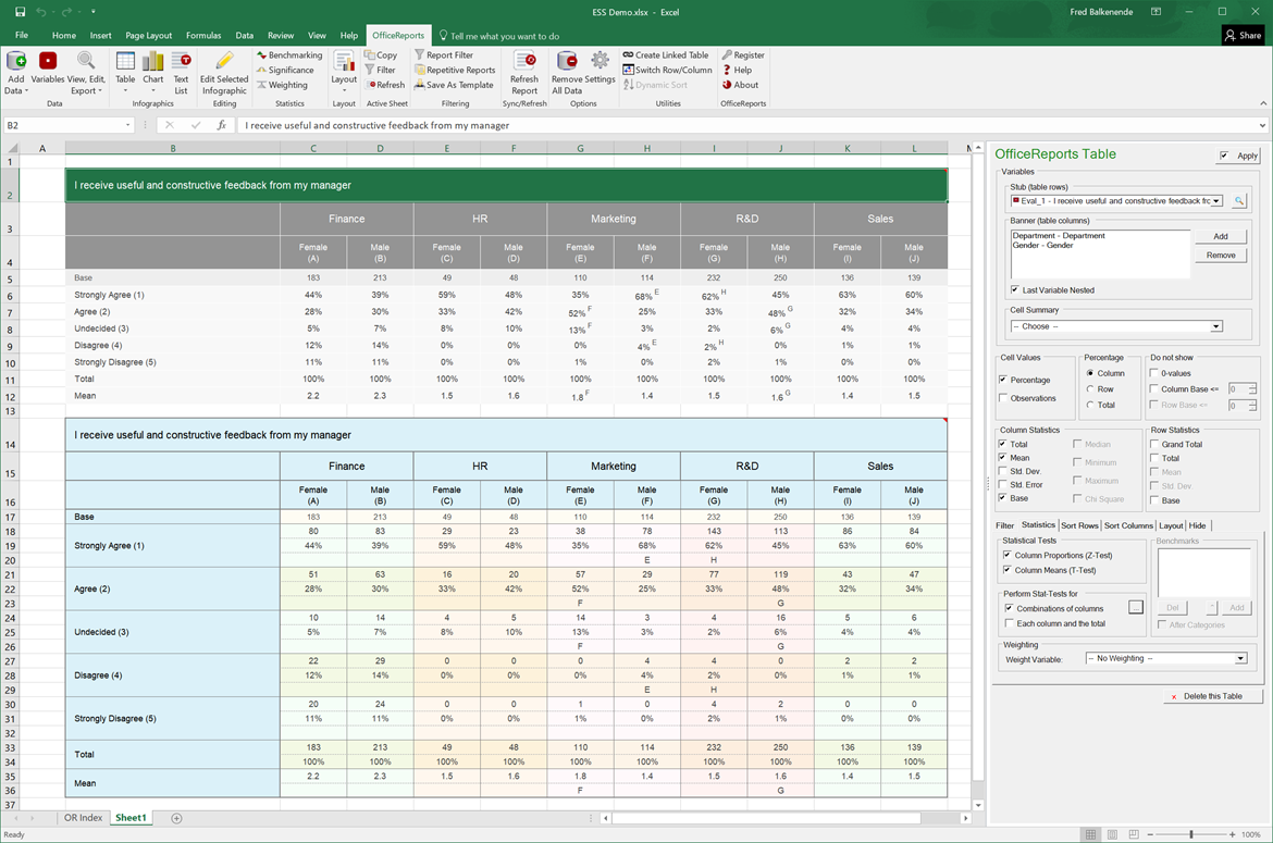 OfficeReports build-in into Excel