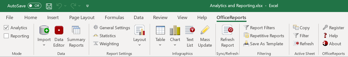 The OfficeReports ribbon tab in Excel